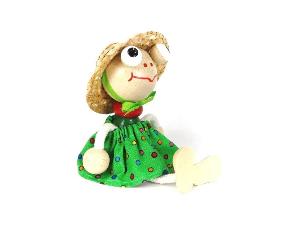 Sedací figurka hračka ze dřeva - Žába oblečená