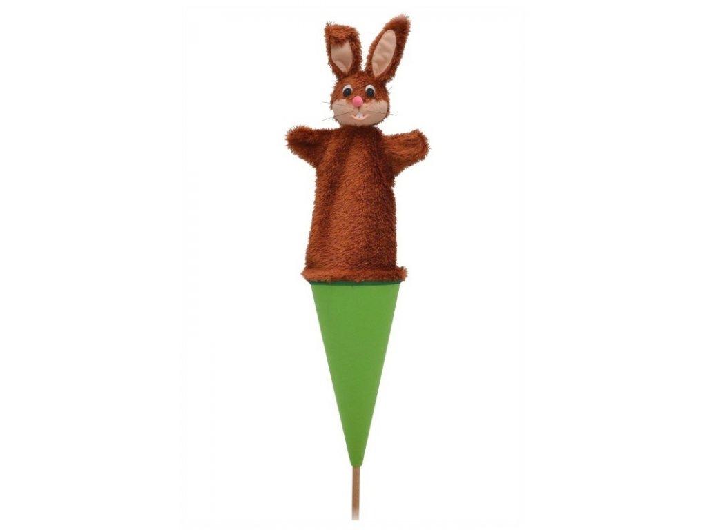 Velký kornoutový maňásek - Zajíc - hračka z textilu