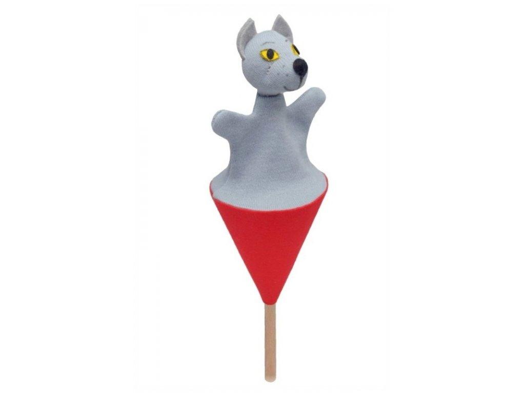 Malý kornoutový maňásek - Vlk - hračka z textilu