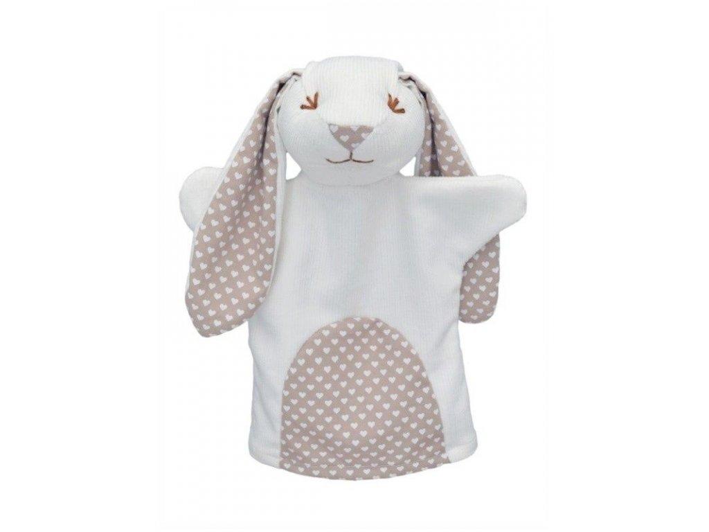 Maňásek pro nejmenší - Králík srdíčka - hračka z textilu
