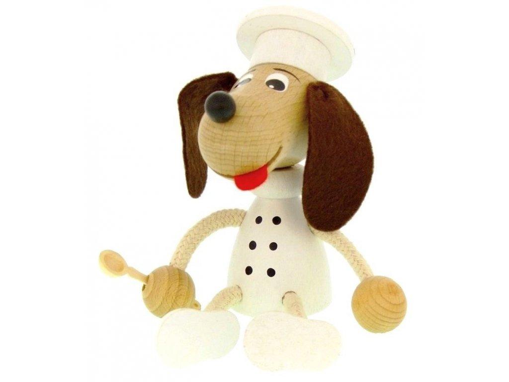 Sedací figurka hračka ze dřeva - Kuchař pes