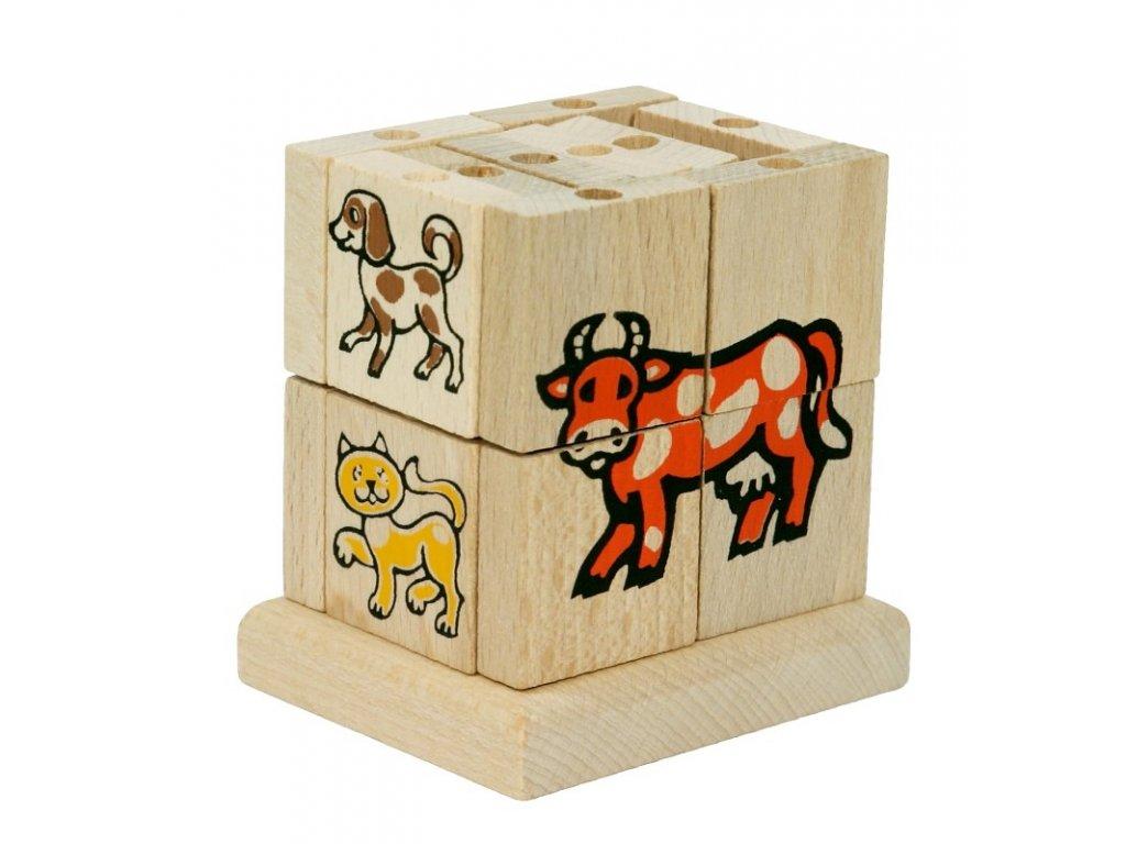 66004 skládací kostka ze dřava domácí zvířata (1)