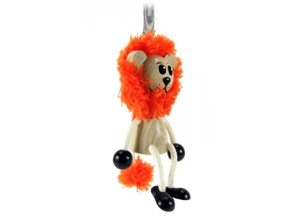 40256 (4) figurka na pruzine ze dreva lev pro deti