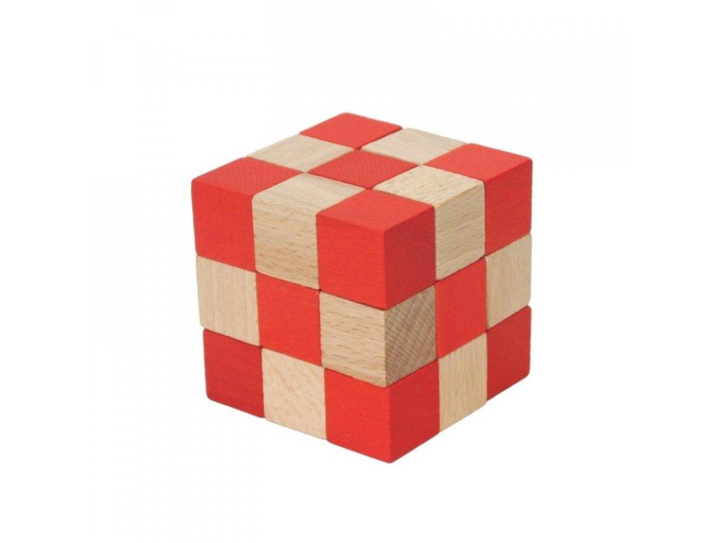 66041 hlavolam ze dřeva soma červená