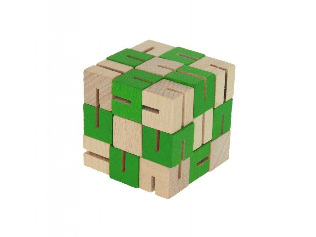 dřevěný hlavolam zelený
