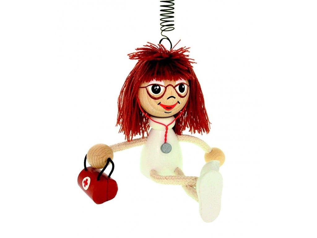 DOKTORKA - oblíbená a vtipná dekorace. Figurka na pružince vyrobená k pobavení Nejen dětí, ale i dospělých:)