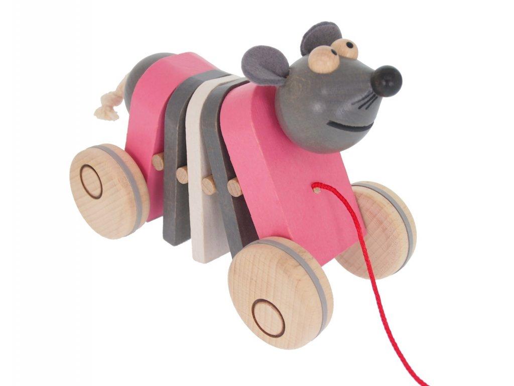 68104 tahačka na kolečkách ze dřeva myš
