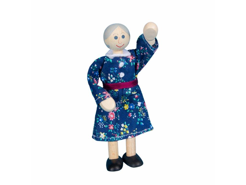 63308 ohebná panenka ze dřeva babička hračka ze dřeva