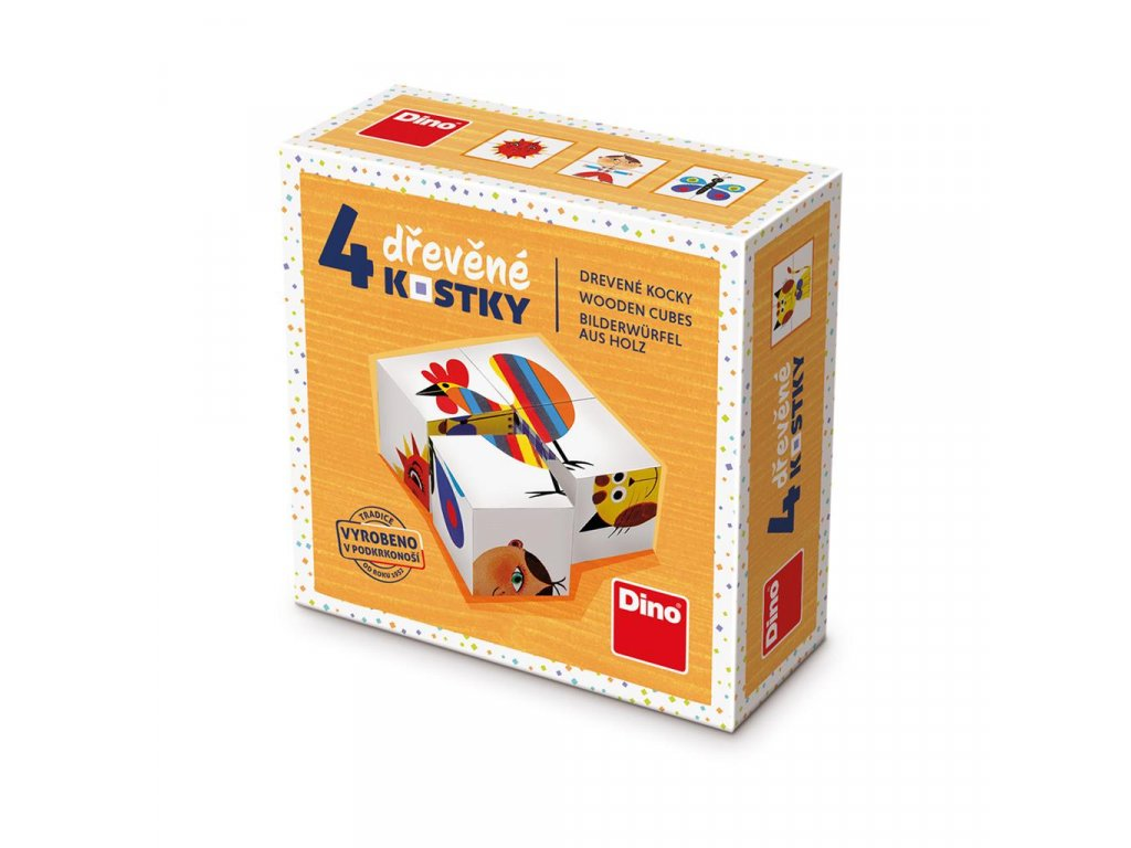 KOHOUT - dřevěné kostky 4 díly. Geniální, jednoduchá, nadčasová, prostě všemi dětmi milovaná česká hračka.