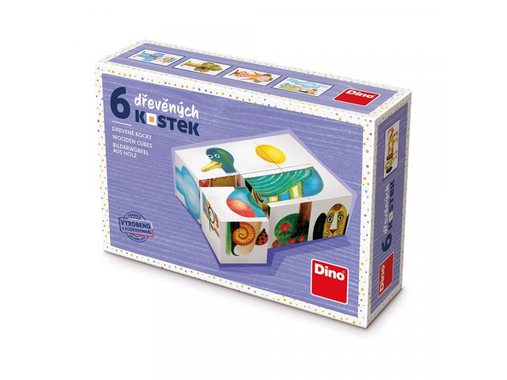 KACHNA - dřevěné kostky 6 dílů. Geniální, jednoduchá, nadčasová, prostě všemi dětmi milovaná česká hračka.