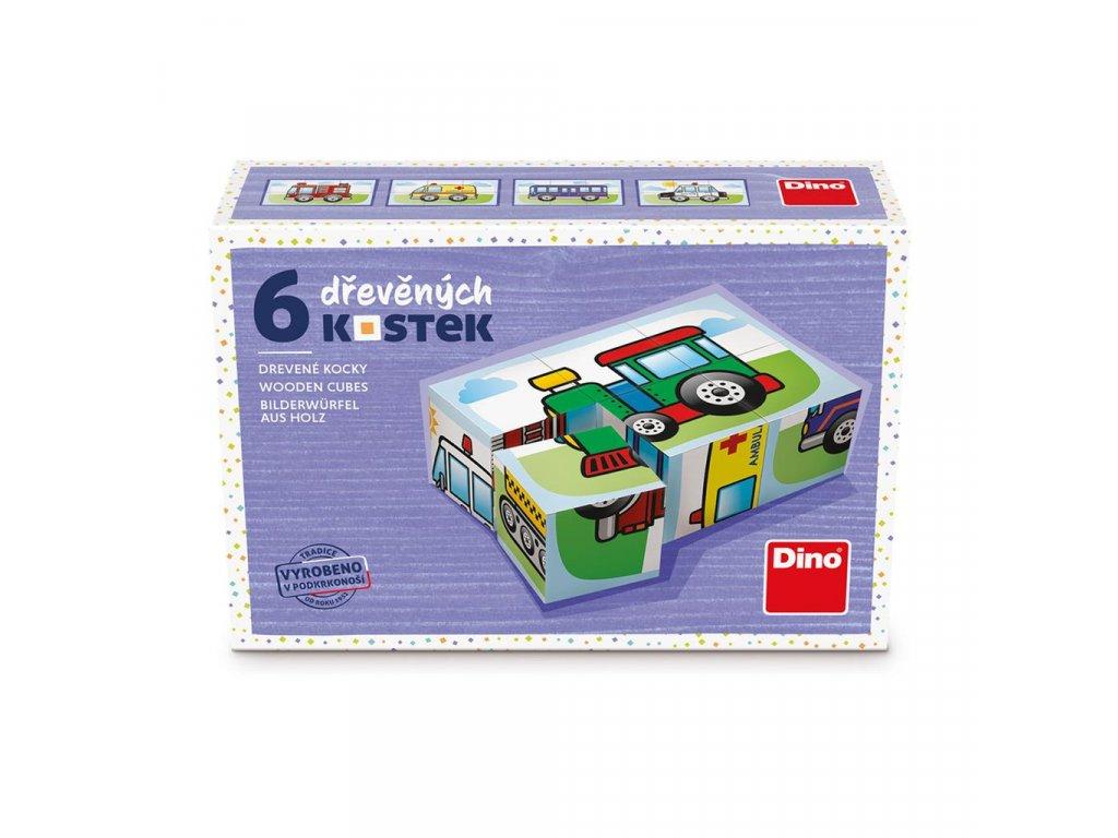 DOPRAVA - dřevěné kostky 6 dílů. Geniální, jednoduchá, nadčasová, prostě všemi dětmi milovaná česká hračka.