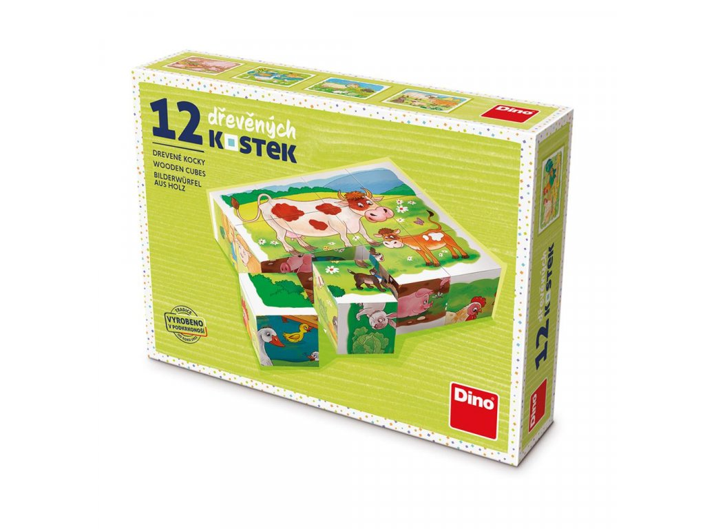 NA FARMĚ - dřevěné kostky 12 dílů. Geniální, jednoduchá, nadčasová, prostě všemi dětmi milovaná česká hračka.