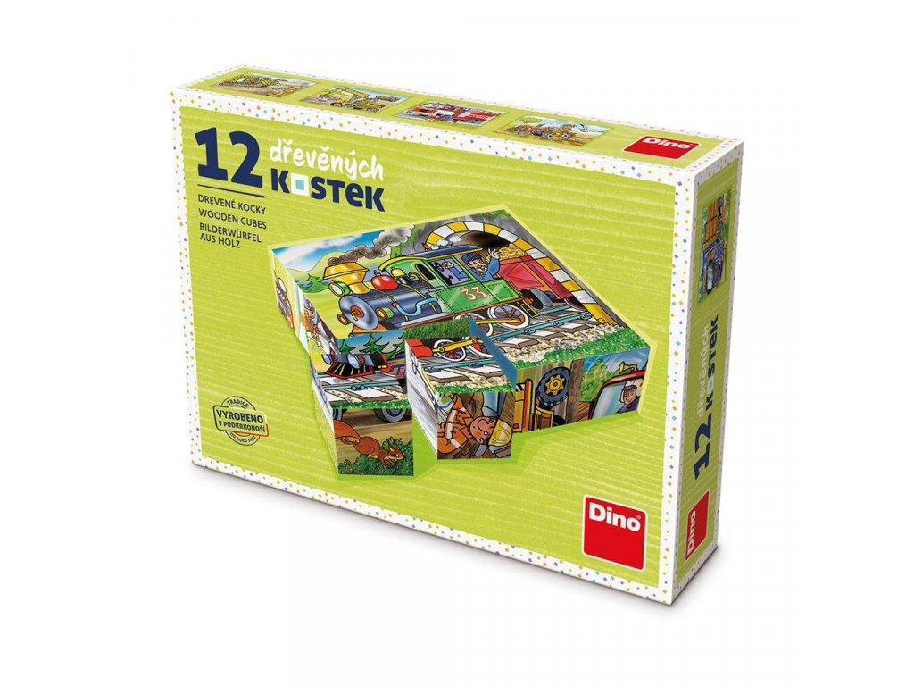 MAŠINKA - dřevěné kostky 12 dílů. Geniální, jednoduchá, nadčasová, prostě všemi dětmi milovaná česká hračka.