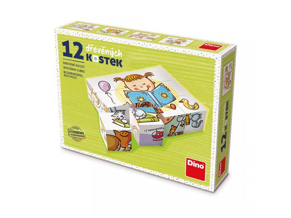 HEZKÝ DEN - dřevěné kostky 12 dílů. Geniální, jednoduchá, nadčasová, prostě všemi dětmi milovaná česká hračka.