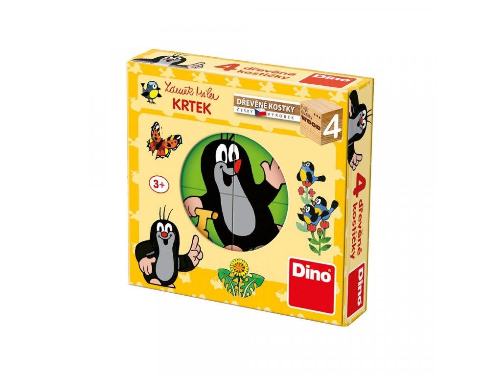 KRTEČEK - dřevěné kostky 4 díly. Geniální, jednoduchá, nadčasová, prostě všemi dětmi milovaná česká hračka.