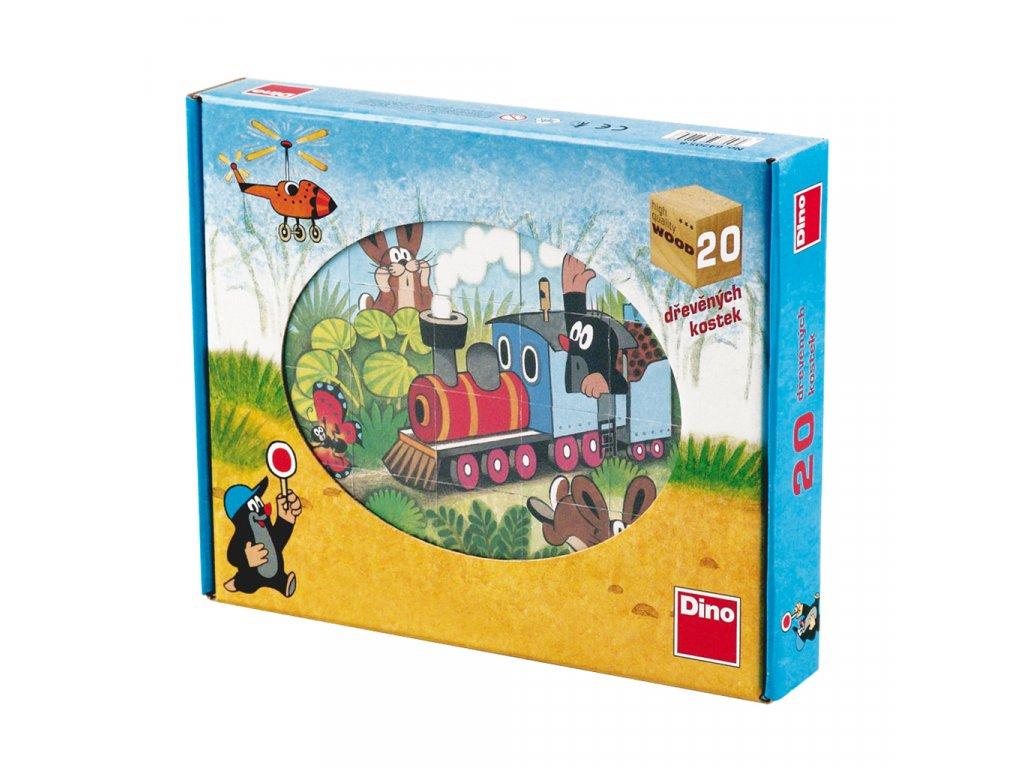KRTEČEK A DOPRAVA - dřevěné kostky 20 dílů. Geniální, jednoduchá, nadčasová, prostě všemi dětmi milovaná česká hračka.