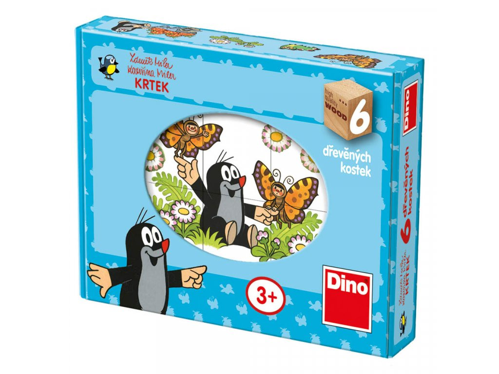 VESELÝ KRTEK - dřevěné kostky 12 dílů. Geniální, jednoduchá, nadčasová, prostě všemi dětmi milovaná česká hračka.