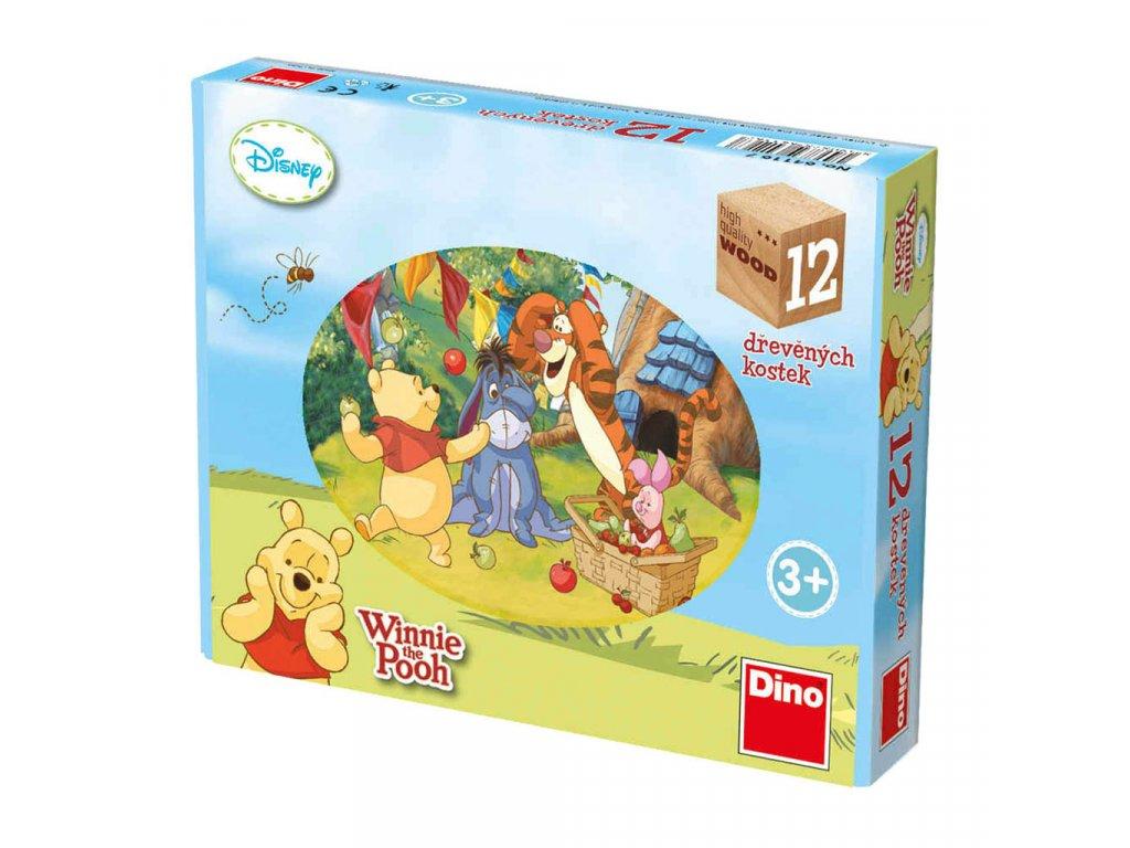 MEDVÍDEK PÚ - dřevěné kostky 12 dílů. Geniální, jednoduchá, nadčasová, prostě všemi dětmi milovaná česká hračka.