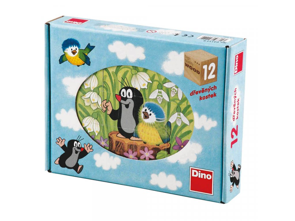 KRTEK A PTÁČEK - dřevěné kostky 12 dílů. Geniální, jednoduchá, nadčasová, prostě všemi dětmi milovaná česká hračka.