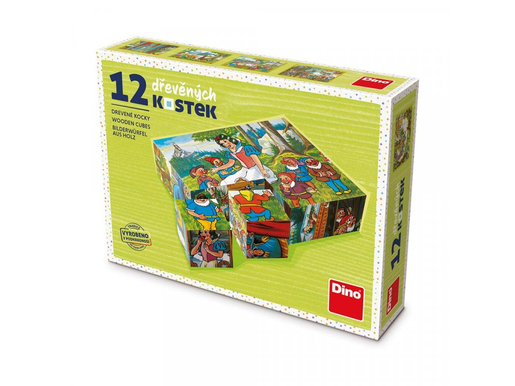 SNĚHURKA - dřevěné kostky 12 dílů. Geniální, jednoduchá, nadčasová, prostě všemi dětmi milovaná česká hračka.