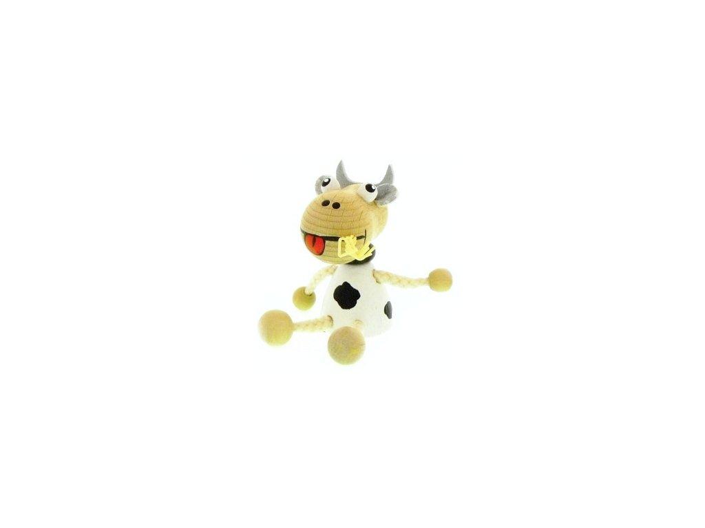 Figurka magnetka ze dřeva - Kráva bílá