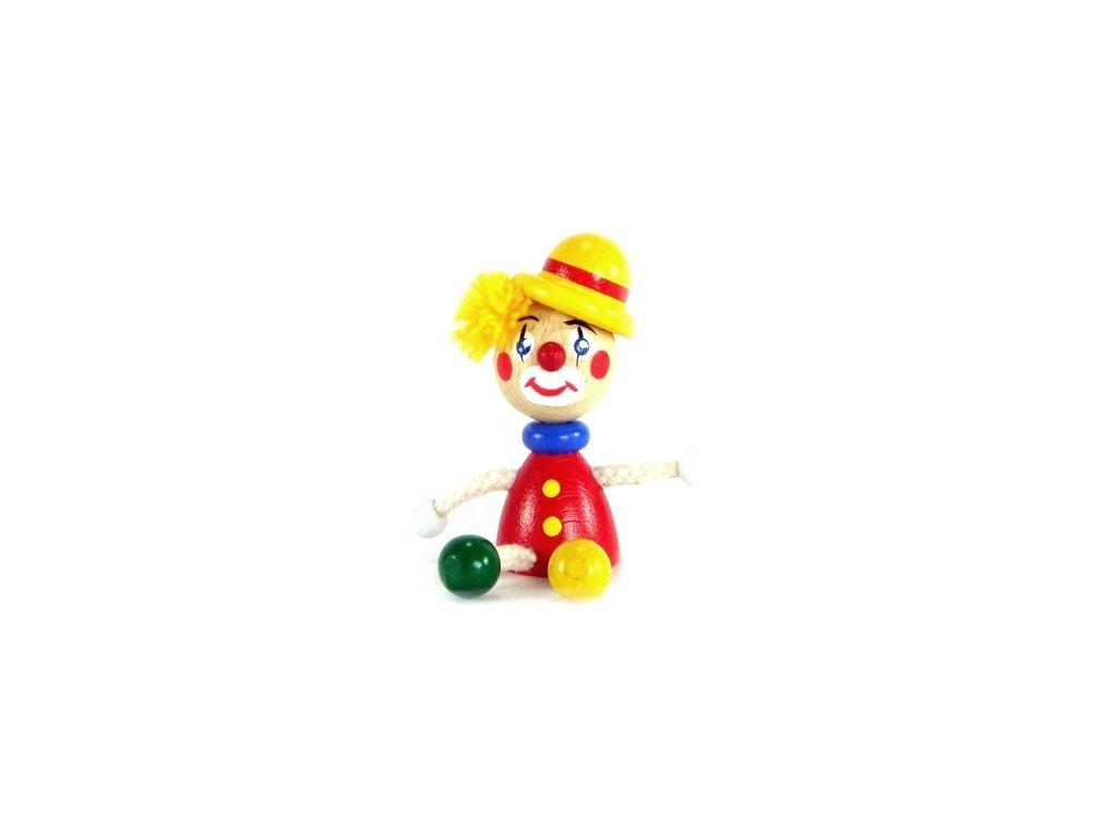 Figurka magnetka ze dřeva - Klaun s buřinkou