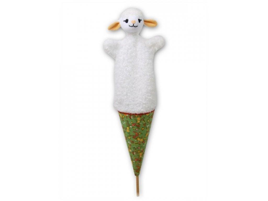 Velký kornoutový maňásek Ovečka - hračka z textilu
