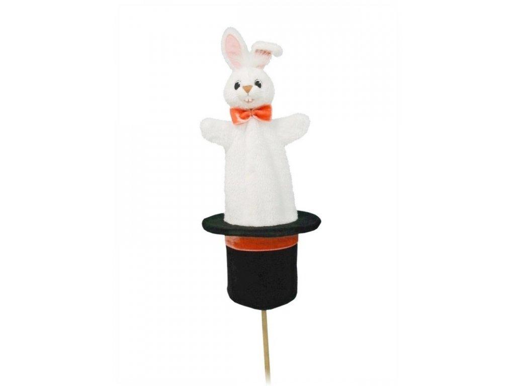 Velký kornoutový maňásek Králík v klobouku - hračka z textilu