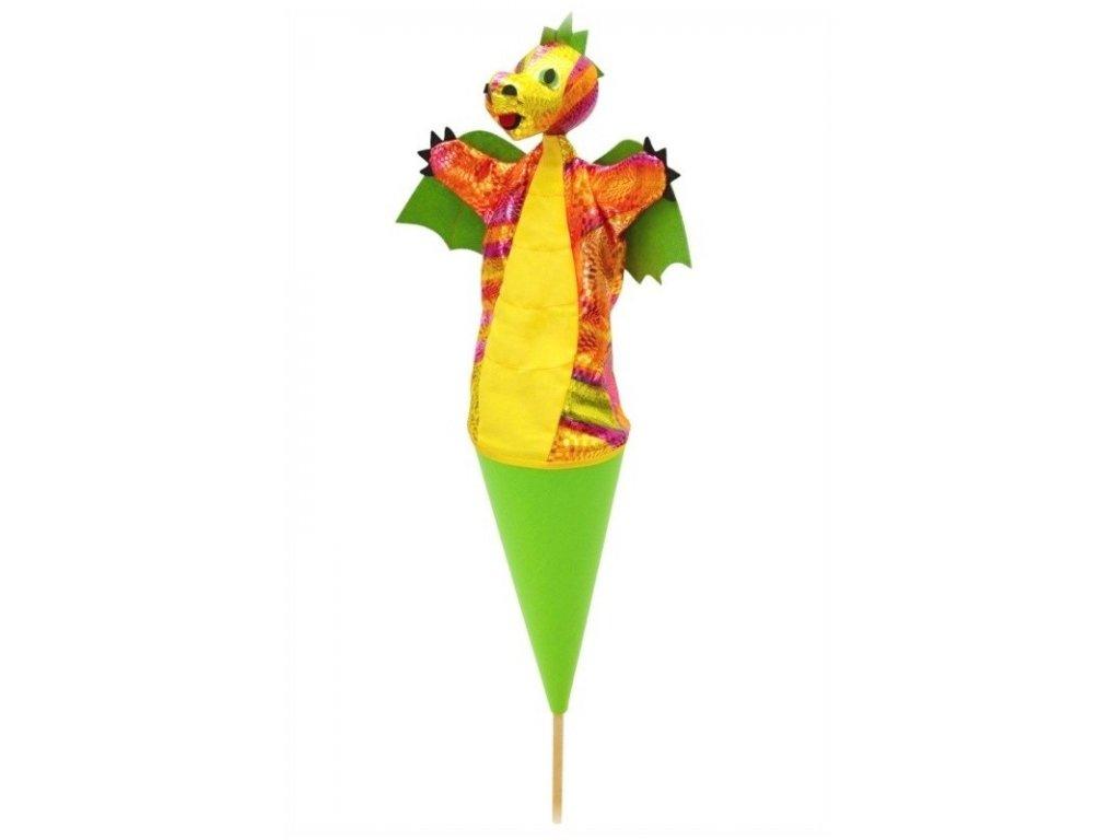 Velký kornoutový maňásek Drak zelený - hračka z textilu