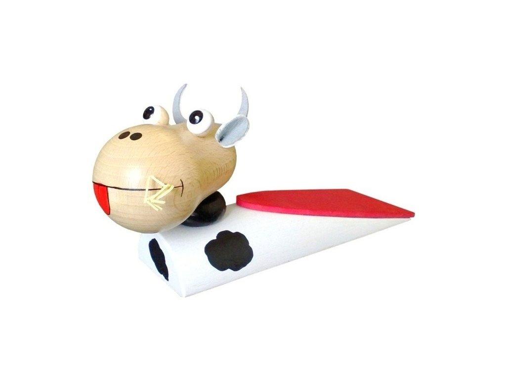Zarážka pod dveře hračka ze dřeva - Kravička