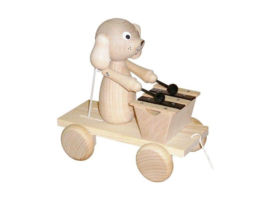 Tahací Pes s xylofonem hračka ze dřeva - natur
