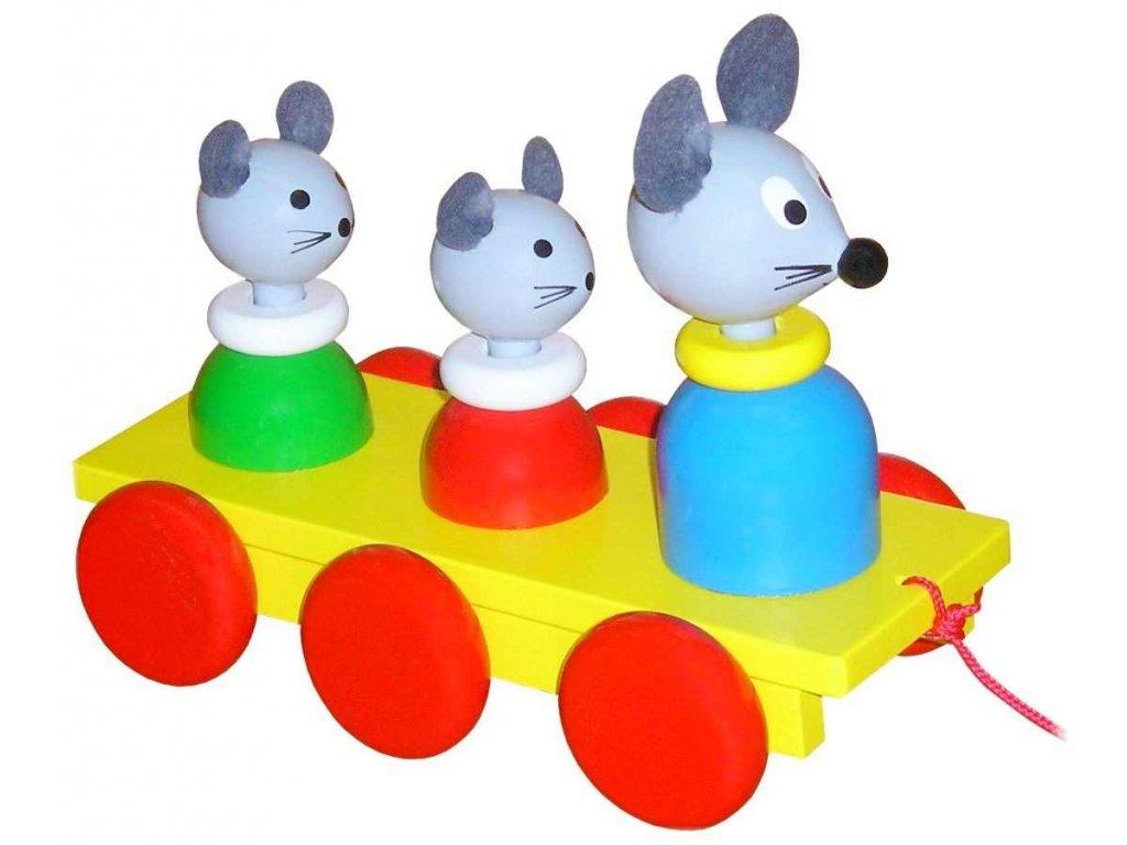Tahací tři Myšky hračka ze dřeva - barevné