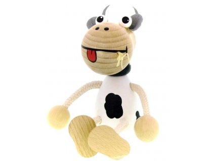 Sedací figurka hračka ze dřeva - Kráva
