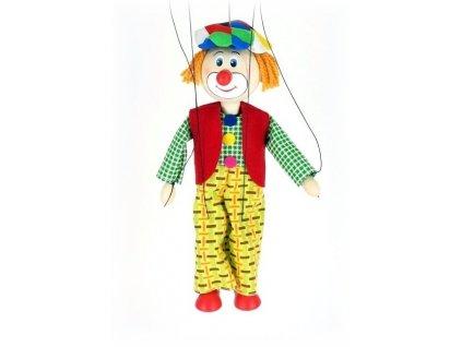 Dřevěná loutka - hračka ze dřeva - Klaun žluté kalhoty