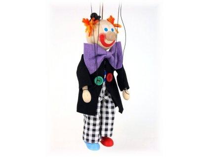 Dřevěná loutka - hračka ze dřeva - Klaun černobílé kalhoty