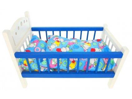 Postýlka velká modrá s peřinkou a polštářem hračka ze dřeva