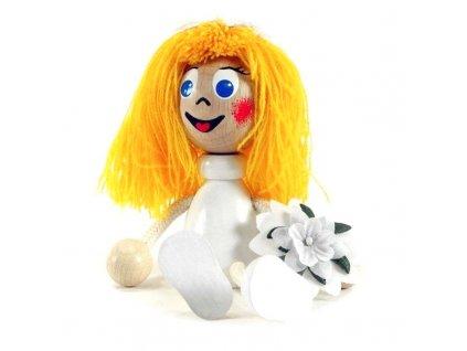 Sedací figurka hračka ze dřeva - Nevěsta