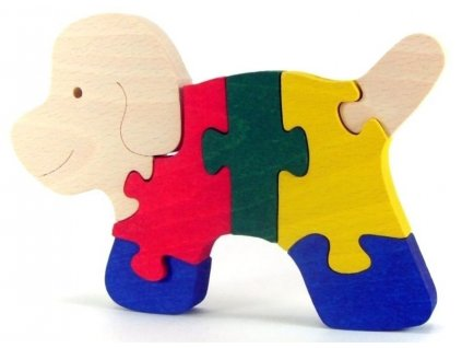 Puzzle hračka ze dřeva - Pes