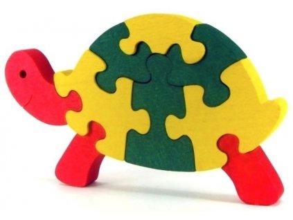 Puzzle hračka ze dřeva - Želva