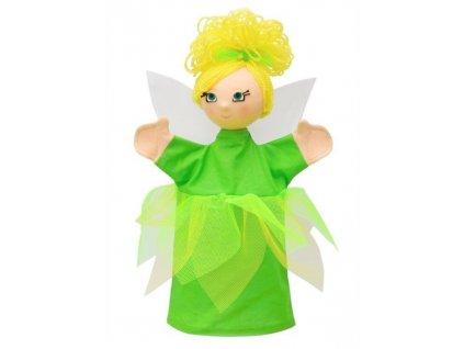 Maňásek - Víla luční zelená - hračka z textilu
