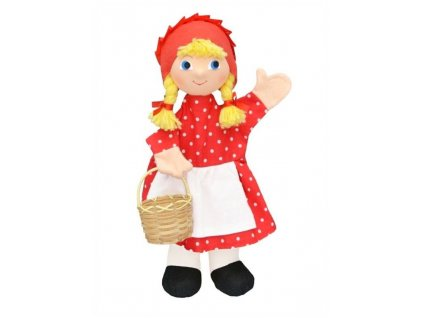 Maňásek - Karkulka s košíčkem puntikovaná - hračka z textilu