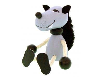 Sedací figurka hračka ze dřeva - Vlk