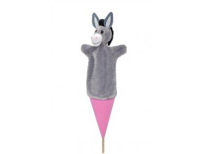 Velký kornoutový maňásek Oslík - hračka z textilu