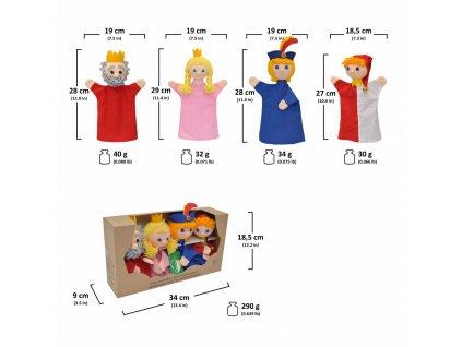 Krabička maňásků -  Královský dvůr - hračka z textilu