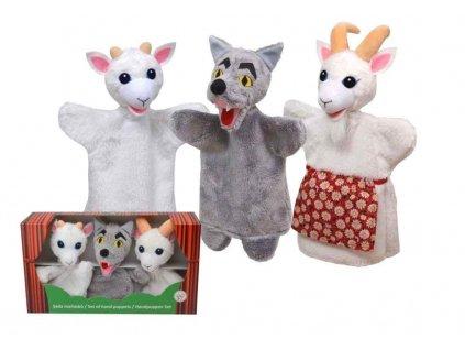 Krabička maňásků - Vlk a kůzlátka - hračka z textilu