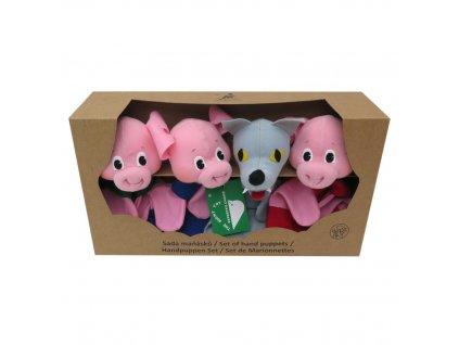 Krabička maňásků - Tři prasátka + vlk - hračka z textilu