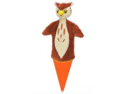Velký kornoutový maňásek - Sova - hračka z textilu