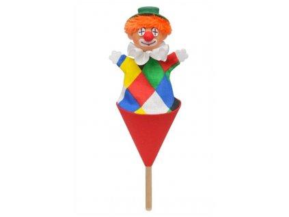 Malý kornoutový maňásek - Klaun Logo - hračka z textilu