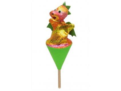 Malý kornoutový maňásek - Drak duhový - hračka z textilu
