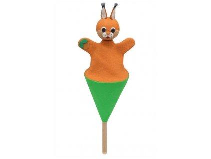 Malý kornoutový maňásek - Veverka s oříškem - hračka z textilu